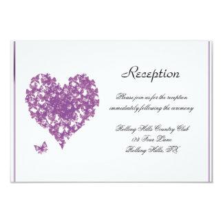 Purple Butterfly Heart Wedding Reception 9 Cm X 13 Cm Invitation Card