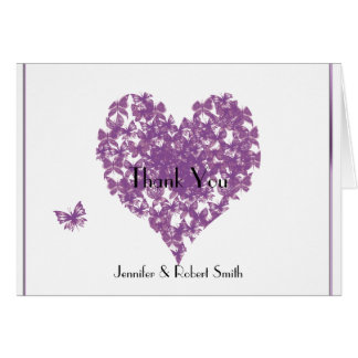 Purple Butterfly Heart Wedding Thank You Card