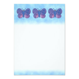 Purple Butterfly. 13 Cm X 18 Cm Invitation Card