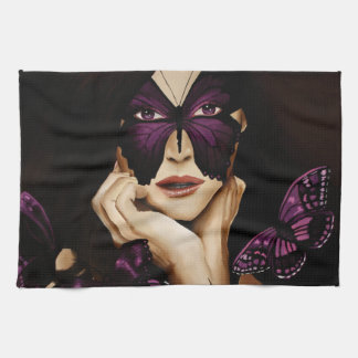 Purple Butterfly Mask Tea Towel
