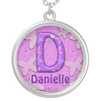 Purple Butterfly Necklace~Letter D~Customize Name Silver Plated Necklace
