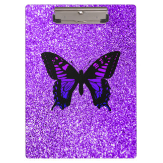 Purple Butterfly on Glitter Clipboard