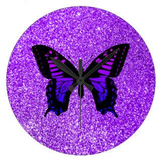 Purple Butterfly on Glitter Large Clock