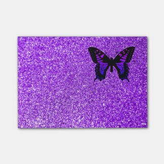Purple Butterfly on Glitter Post-it Notes