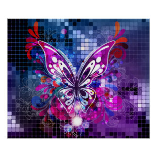 Purple butterfly on mosaic background Poster 2