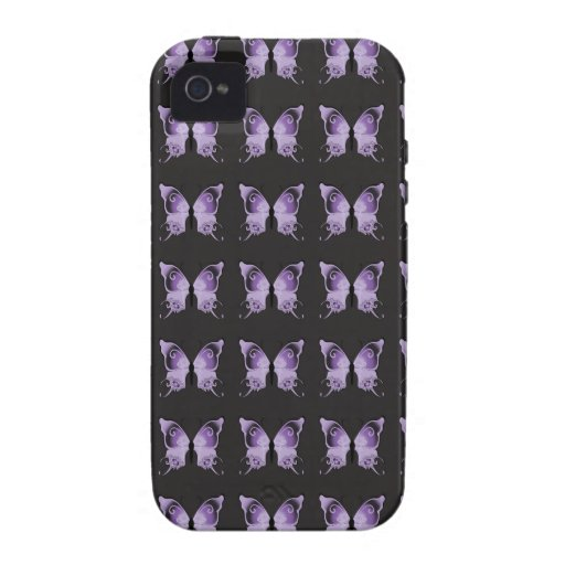 Purple Butterfly Pattern Case-Mate iPhone 4 Cases