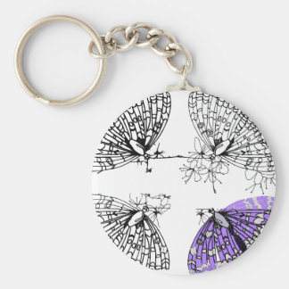 Purple Butterfly sketch Basic Round Button Key Ring