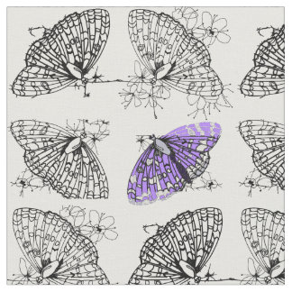 Purple Butterfly sketch Fabric