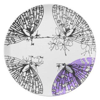 Purple Butterfly sketch Plate