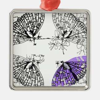 Purple Butterfly sketch Silver-Colored Square Decoration