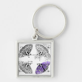 Purple Butterfly sketch Silver-Colored Square Key Ring