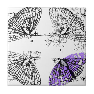 Purple Butterfly sketch Small Square Tile