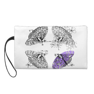 Purple Butterfly sketch Wristlet