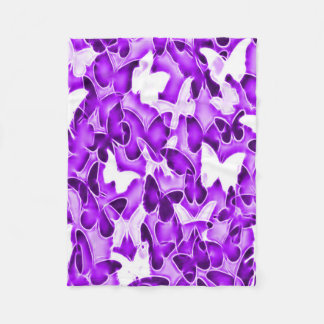 Purple Butterfly Sparkle Camo Fleece Blanket