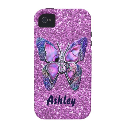 Purple Butterfly sparkle iPhone 4 Case