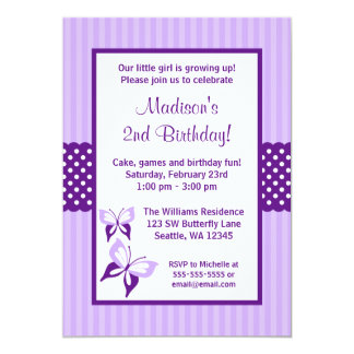 Purple Butterfly Striped Dots Birthday Party 13 Cm X 18 Cm Invitation Card