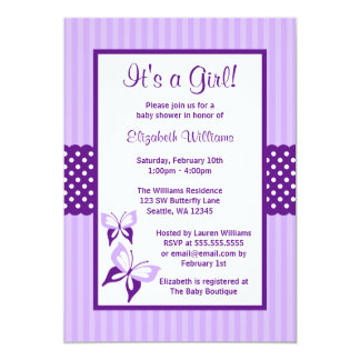 Purple Butterfly Stripes and Dots Baby Shower 13 Cm X 18 Cm Invitation Card