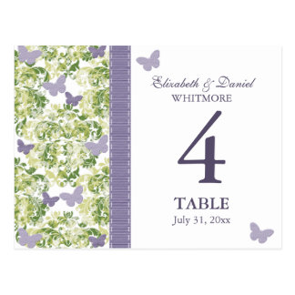 Purple Butterfly Table Number Card Postcards