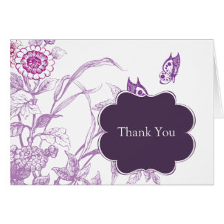 Purple Butterfly Thank You Note Card