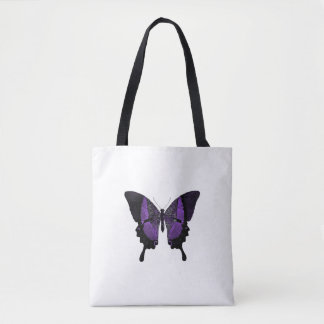 Purple Butterfly Tote With Black Handles