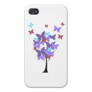 Purple Butterfly Tree iPhone 4 Covers