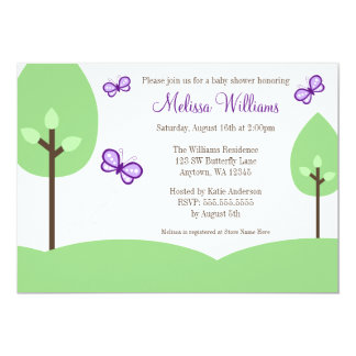 Purple Butterfly Trees Baby Shower Invitations
