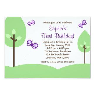 Purple Butterfly Trees Girl Birthday 13 Cm X 18 Cm Invitation Card