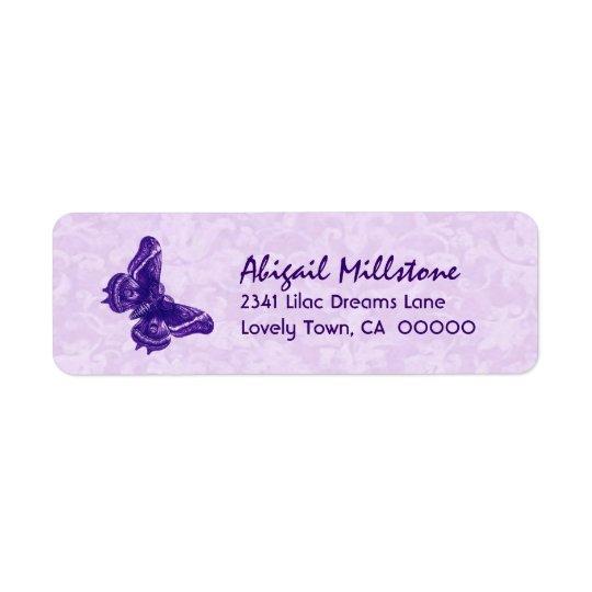 Purple Butterfly V004 Return Address Label