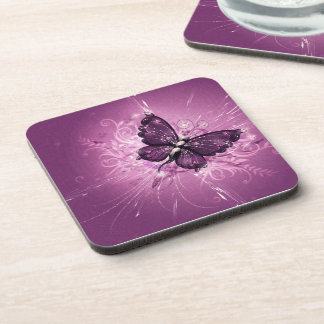 purple butterfly vector art coaster