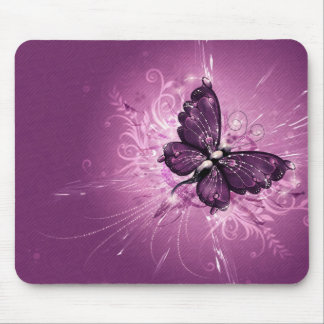 purple butterfly vector art mouse mat