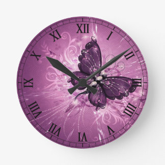 purple butterfly vector art round clock