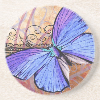 Purple Butterfly Vintage Collage Coaster