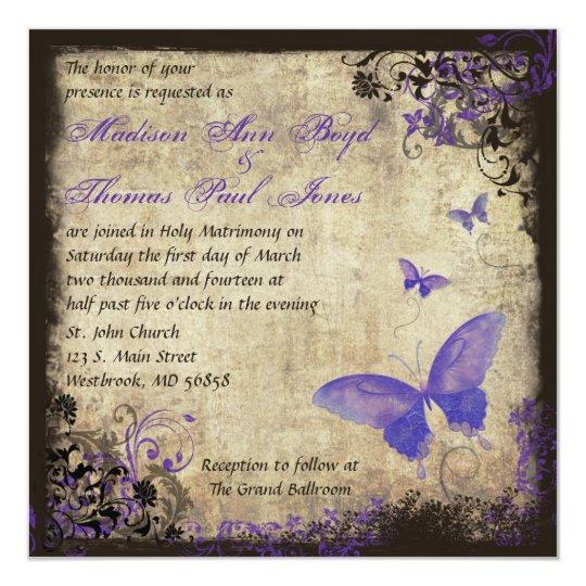 Purple Butterfly Vintage Square Wedding Invitation