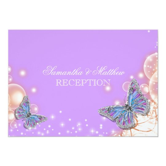Purple butterfly wedding reception card