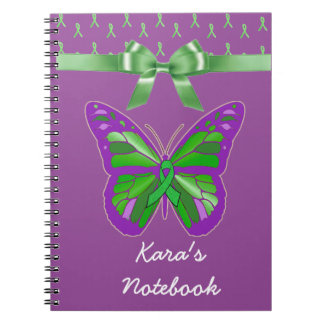 Purple Butterfly with Lyme Green Ribbon Spiral Notebook