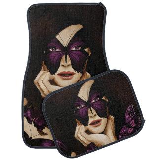 Purple Butterfly Woman Car Mat