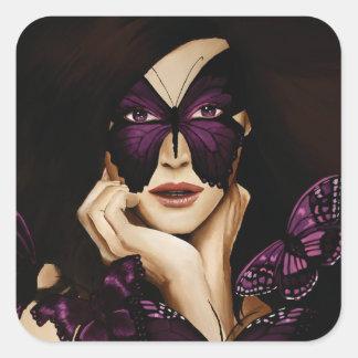 Purple Butterfly Woman Square Sticker