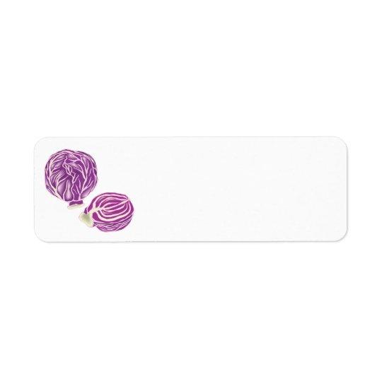 purple cabbage graphic return address label