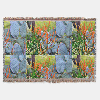 Purple Cactus in Orange Throw Blanket