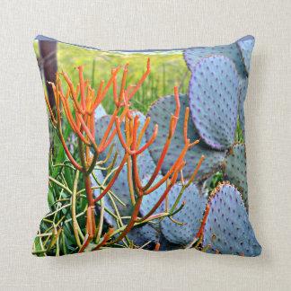Purple Cactus in Orange Throw Pillow