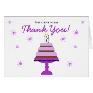 Purple Cake 18th Birthday Thank You Note Card