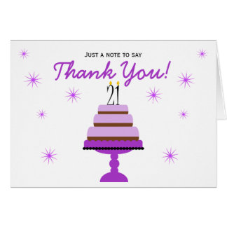Purple Cake 21st Birthday Thank You Note Card