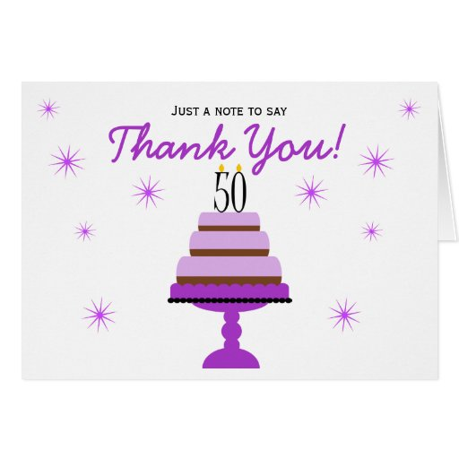 Purple Cake 50th Birthday Thank You Note Card