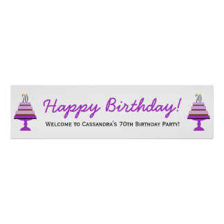 Purple Cake 70th Birthday Party Banner Poster
