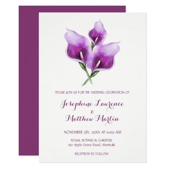 Purple Calla Lily Monogram Wedding Invitations