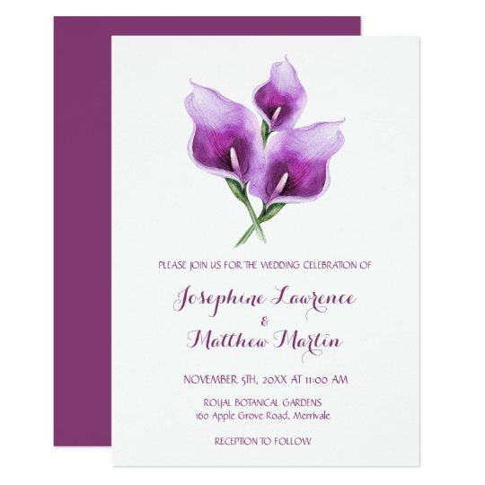 Purple Calla Lily Monogram Wedding Invitations