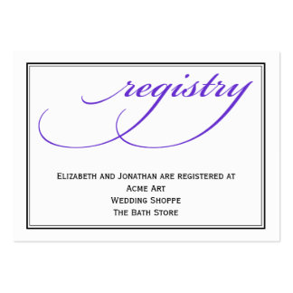 Purple Calligraphy Wedding Registry Information Pack Of Chubby Business Cards
