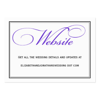 Purple Calligraphy Wedding Website Information Pack Of Chubby Business Cards