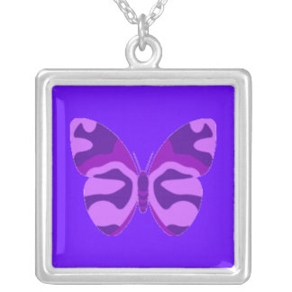 Purple Camo Butterfly Square Necklace
