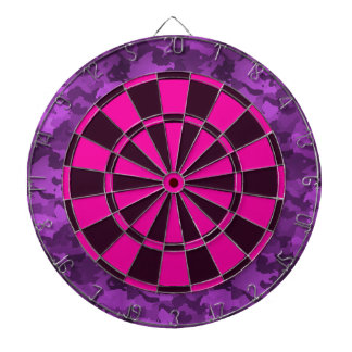 Purple Camo Dartboard With Darts
